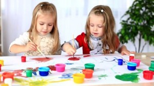 stock-footage-children-paint-with-gouache-dolly-hd